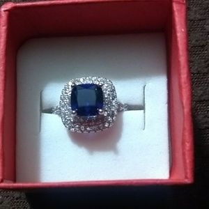 Jewelry - 925 Sterling Silver/Sapphire/CZ Ring Size 6